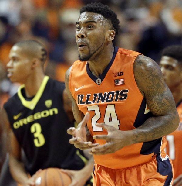 Illinois guard Rayvonte Rice reacts after he fouled Oregon guard Joseph Young