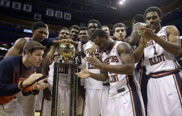 Members of the Illinois Fighting Illini celebrate following Saturday's win