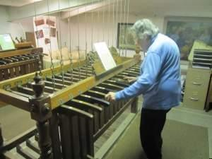 Sue Wood, in her 44th year of playing the Altgeld Tower bell concerts.