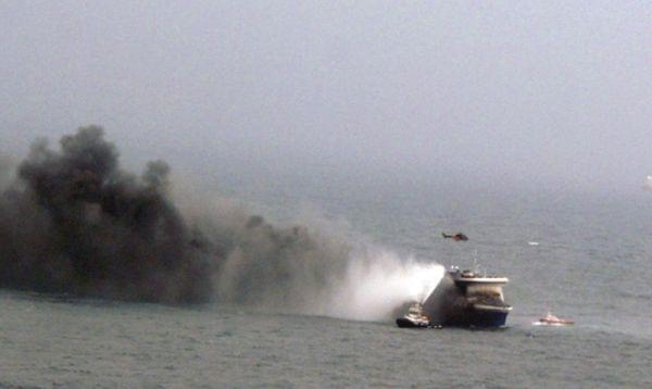 This Italian navy photo shows smoke billowing from the Norman Atlantic after it caught fire.