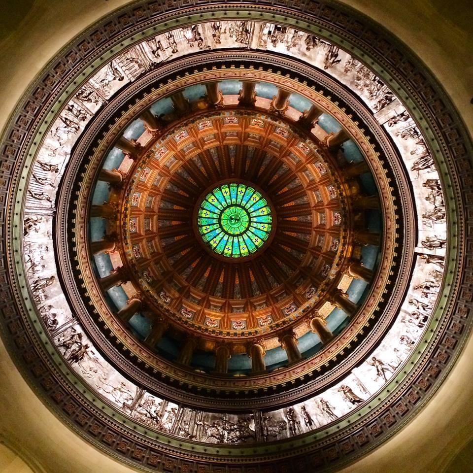 the Illinois capitol dome as seen from inside the capitol looking up
