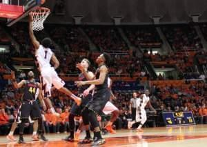 Jaylon Tate shoots a lay up versus Maryland