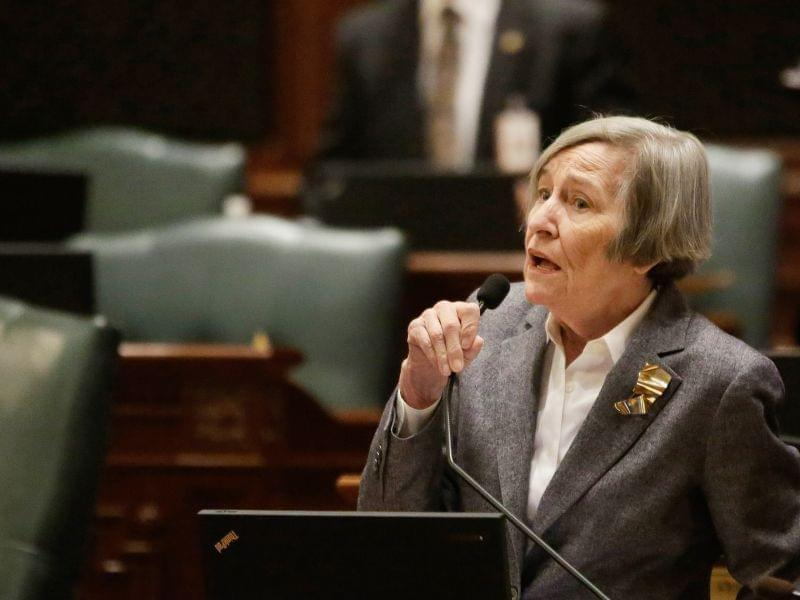 Representative Barbara Flynn Currie speaks during Thursday's special session.