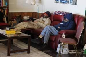 Jeff Thomas (Left) and Nick Wright (Right) come in from the cold to sleep at the Phoenix in 2015.