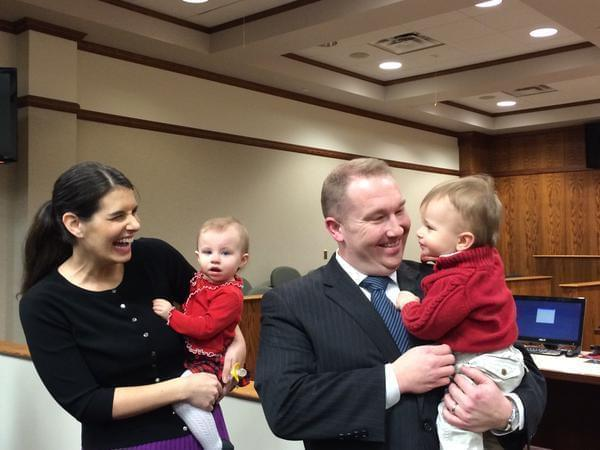 New State Sen. Scott Bennett poses with his family in the Champaign County Courthouse on Monday