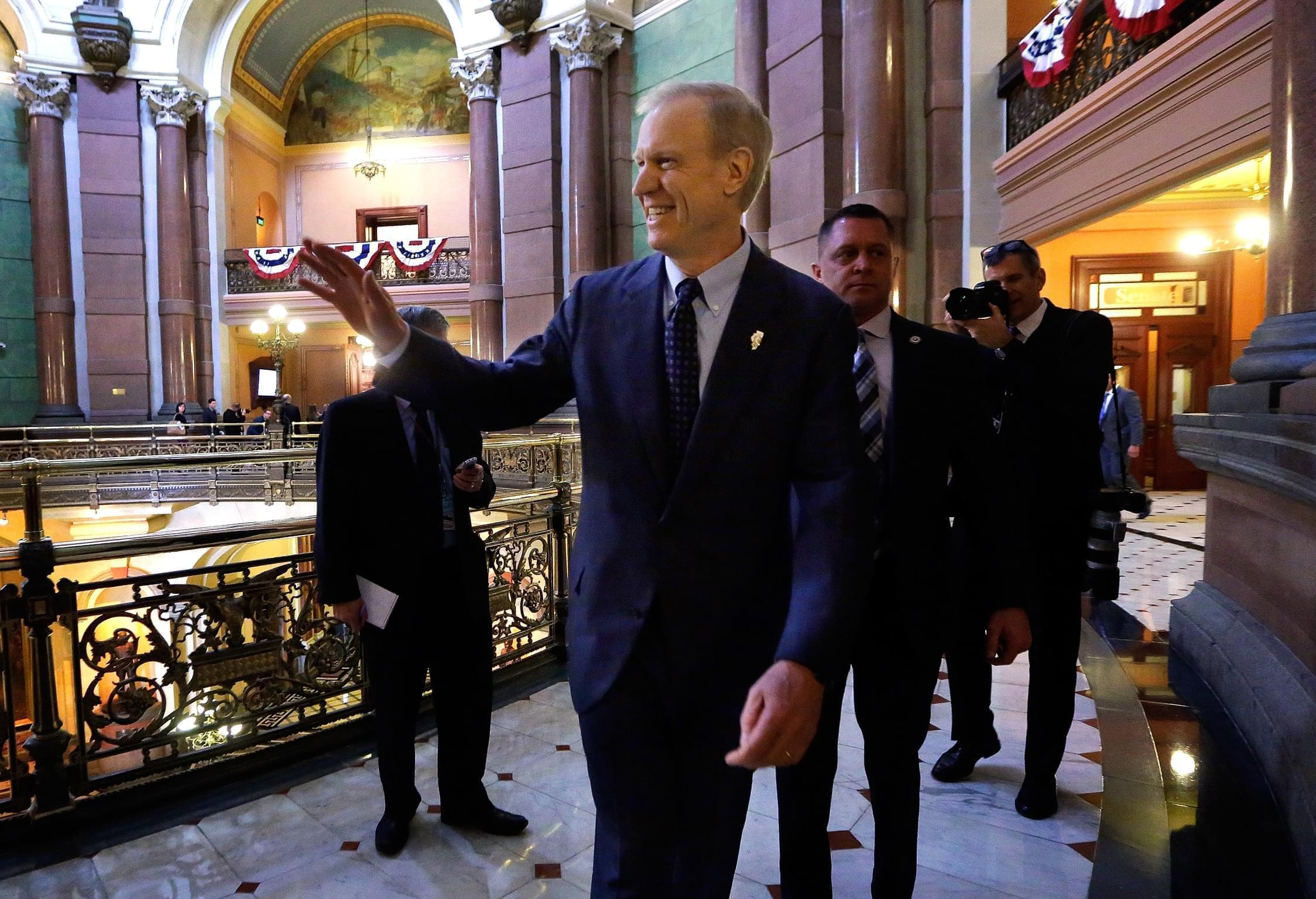Illinois Governor Bruce Rauner after swearing in ceremonies in the Senate chambers Wednesday.