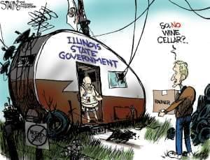 Satirical portrayal of Governor Bruce Rauner moving into the Governor's mansion by Political Cartoonist, Scott Stantis