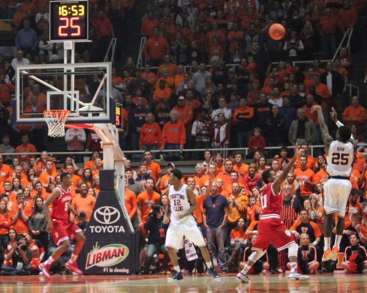 Kendrick Nunn shoots a three pointer against Indiana