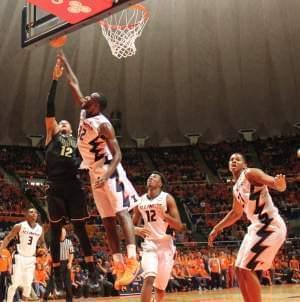 Nnanna Egwu blocks Purdue Forward, Vince Edwards (12)