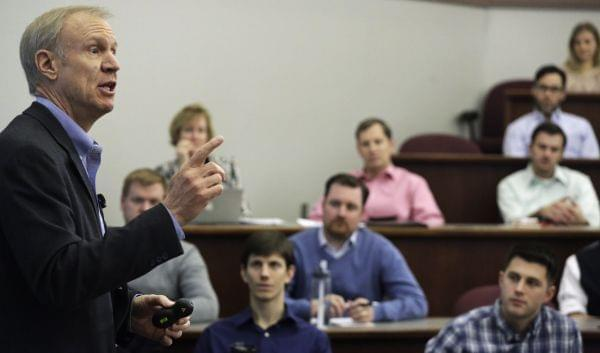 Governor Bruce Rauner speaks to the University of Chicago Booth School of Business Thursday.