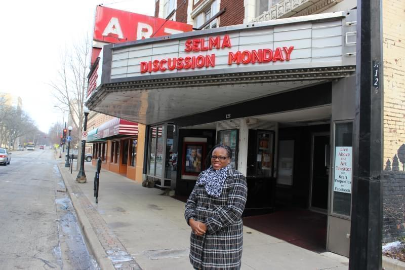 State Rep. Carol Ammons stands outside of the Art Theater in downtown Champaign.