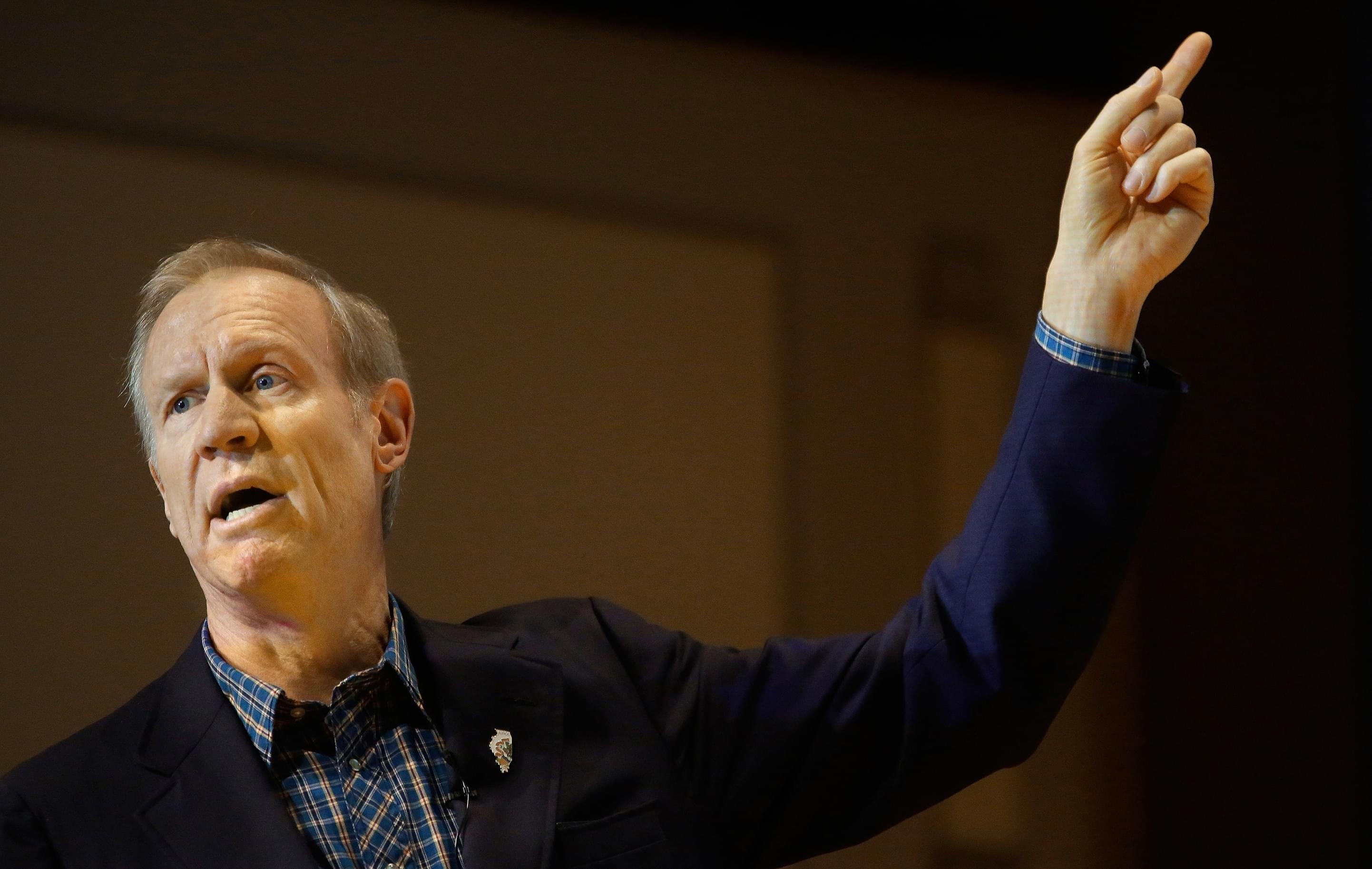 Gov. Bruce Rauner speaks at Richland Community College in Decatur Tuesday.