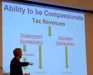 """Gov. Rauner outlines what he calls """"education bureaucracy"""" in a speech in Champaign on Thursday."""