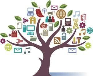 Digital Media symbols arranged in a tree