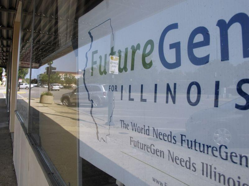 A sign in a window in Mattoon on August 6, 2010, welcomed the FutureGen plant there.  The federal government later cancelled the plant.