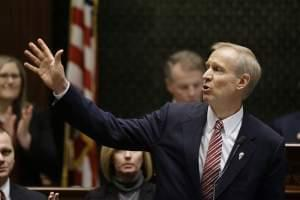 Illinois Gov. Bruce Rauner delivers his State of the State address to a joint session of the General Assembly, Wednesday, Feb. 4, 2015, at the Capitol in Springfield, Ill.