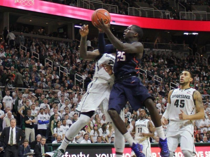 Illini Kendrick Nunn drives for a layup during Saturday's 59-54 win at Michigan State.