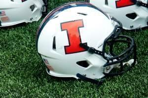 Illini football helmet during a game against Youngstown State in Champaign August 30.