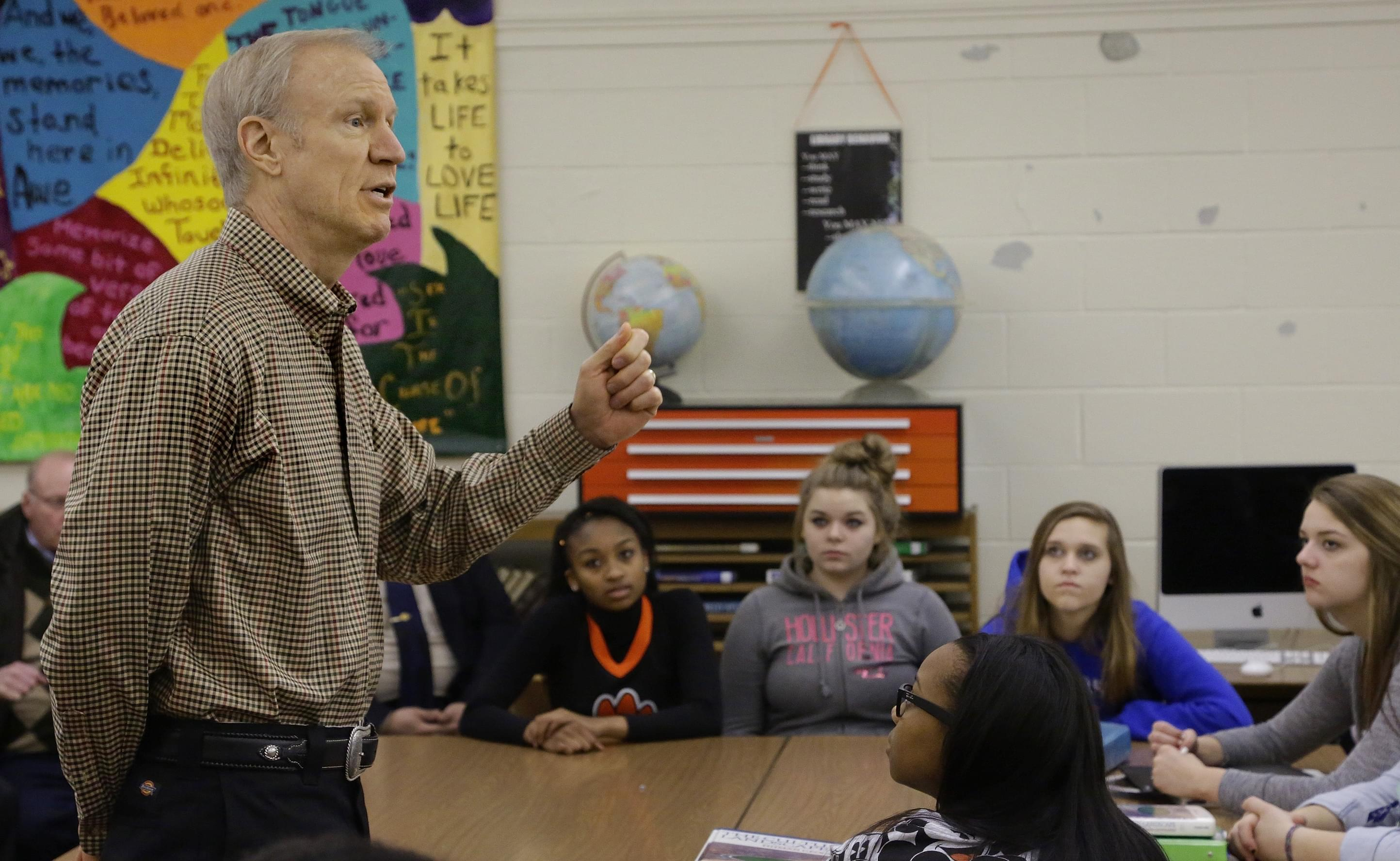 Governor Bruce Rauner at Lanphier High School in Springfield Tuesday.