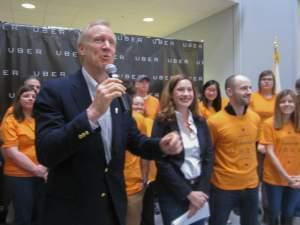 Governor Bruce Rauner as part of the launch of Uber in Champaign-Urbana at EnterpriseWorks in Champaign in 2015.