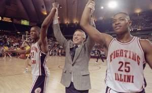 Coach Lou Henson with Nick Anderson and Kenny Battle after the 83-69 win over Louisville