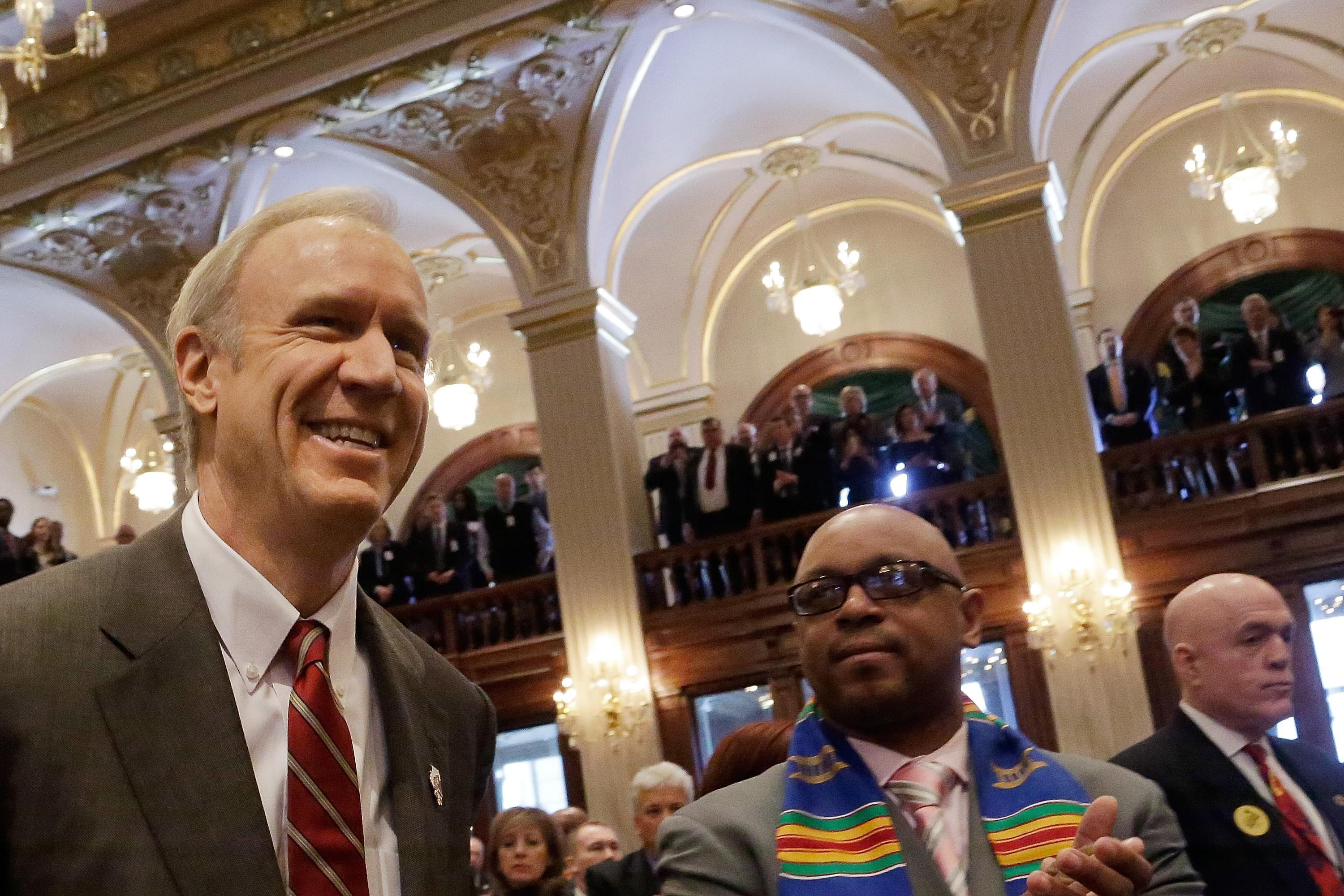 Governor Bruce Rauner before his budget address Wednesday.