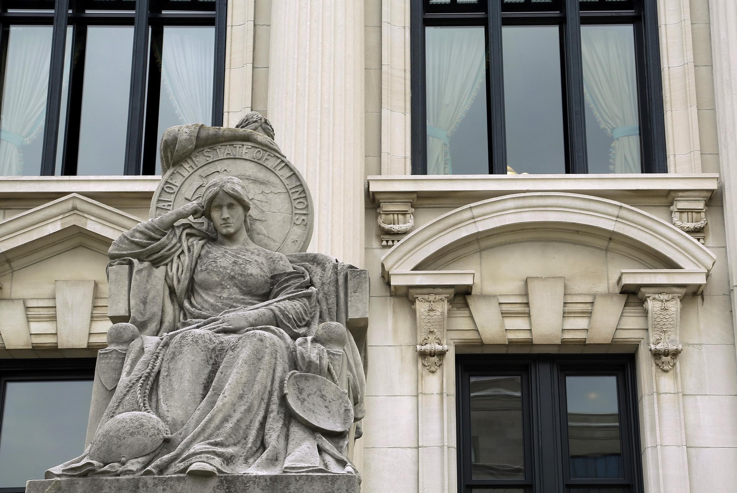 Statues outside the Illinois Supreme Court building