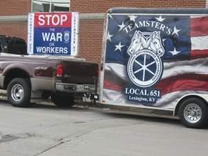 A teamsters truck is parked outside the Warren County, Kentucky courthouse when right to work ordinance was approved,