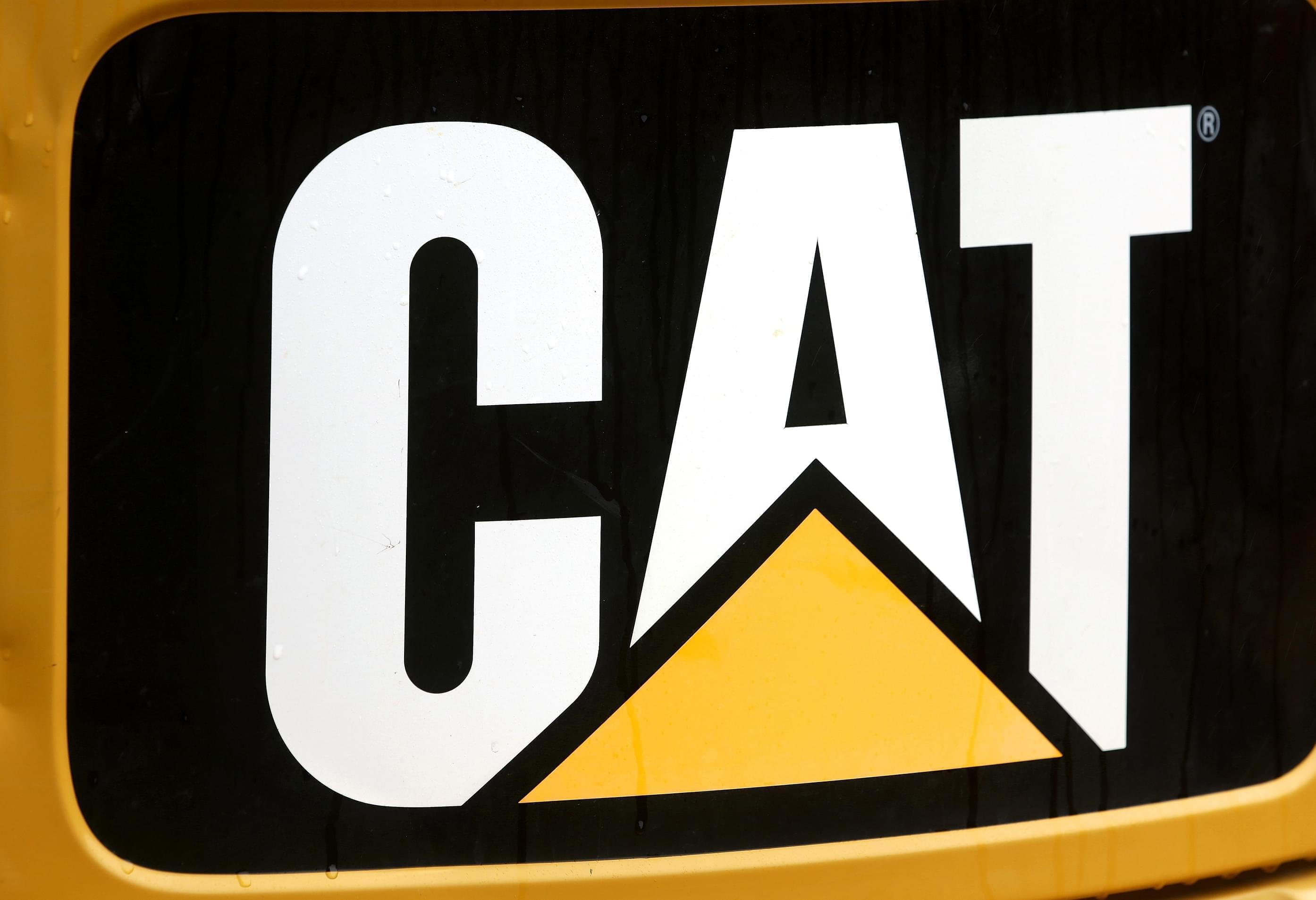 A June 10 photo of the Caterpillar logo on earth moving equipment in Springfield.