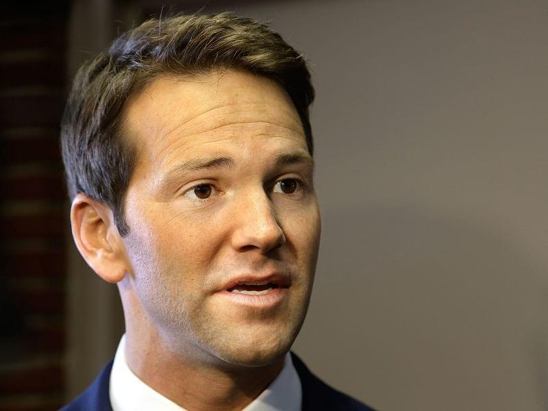 Congressman Aaron Schock talks with reporters before meeting with constituents Feb. 6