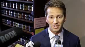 U.S. Rep. Aaron Schock speaking to reporters in Peoria, IL.