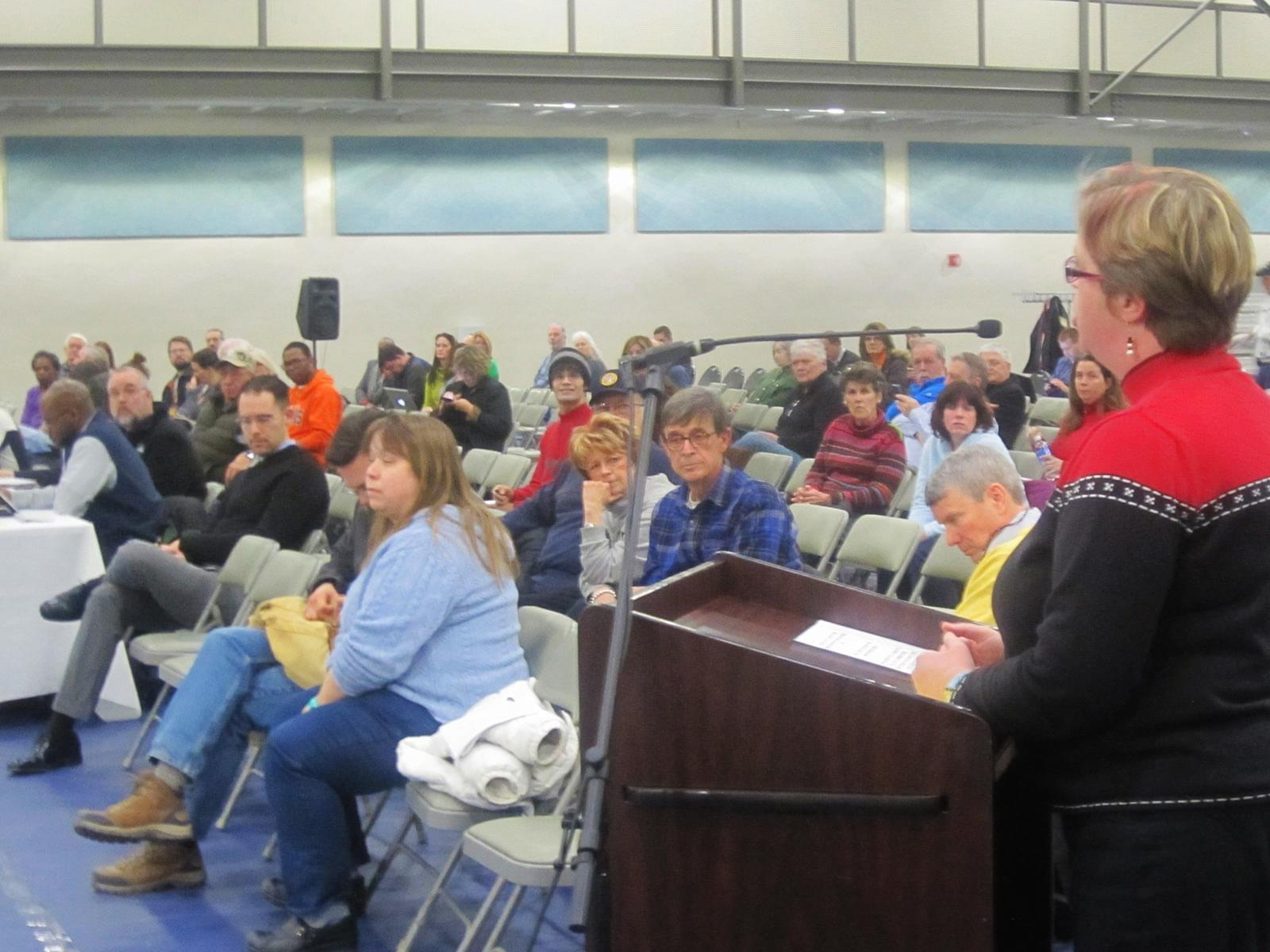 Champaign Unit 4 Board member Kathy Richards speaks at Wednesday's forum