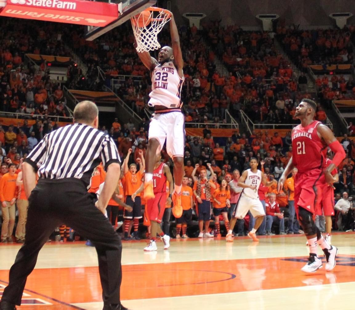 Nnanna Egwu capped off his senior night with a slam dunk in Wednesday's 69-57 win over Nebraska.
