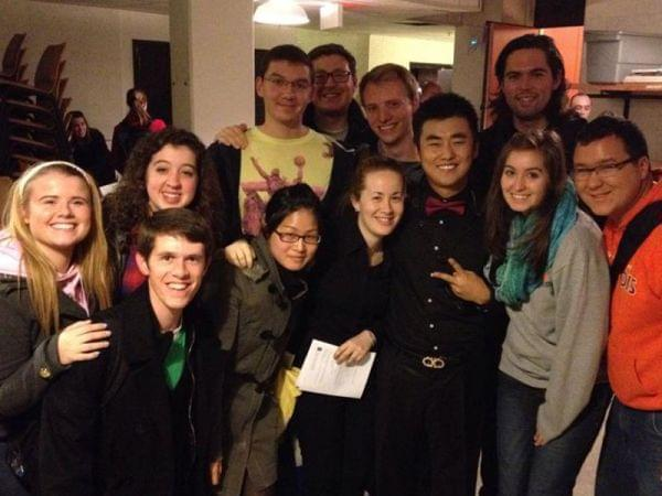 Kim, in the center, with his fellow U of I Saxophone Studio students after the performance.