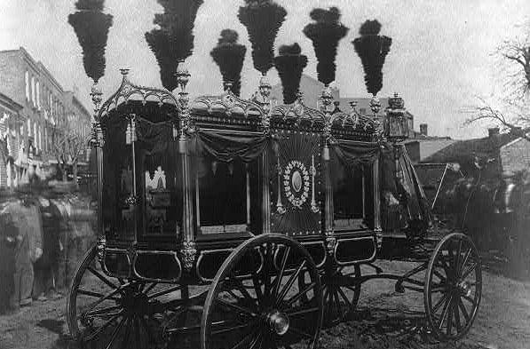 The 1865 hearse used to carry Abraham Lincoln's body in the procession through Springfield for his funeral.