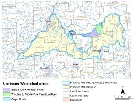 EPA map of Sole Source Aquifer area in Mahomet Aquifer.