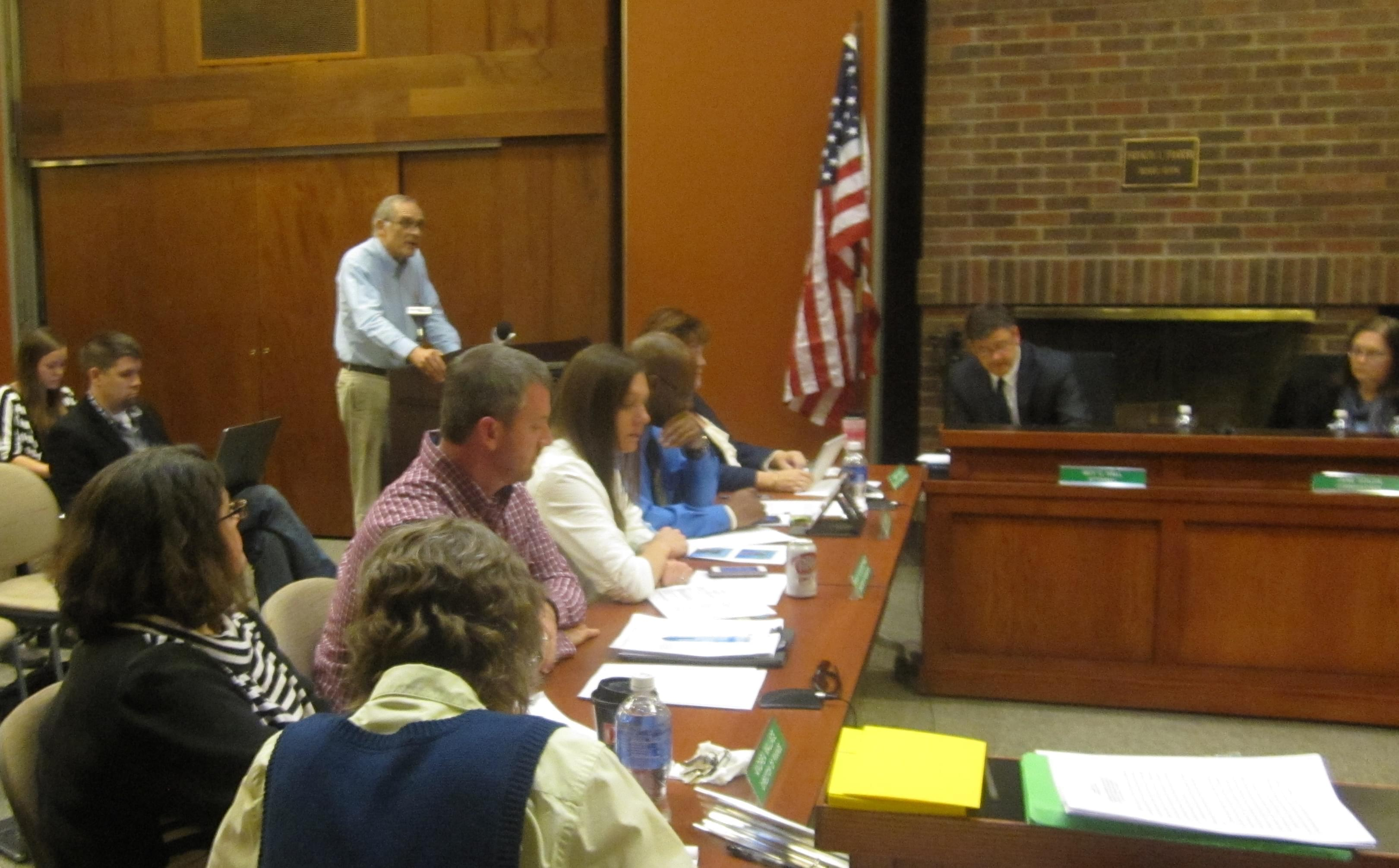 Former Champaign mayor Dan McCollum addresses the Champaign Park Board Wednesday night.