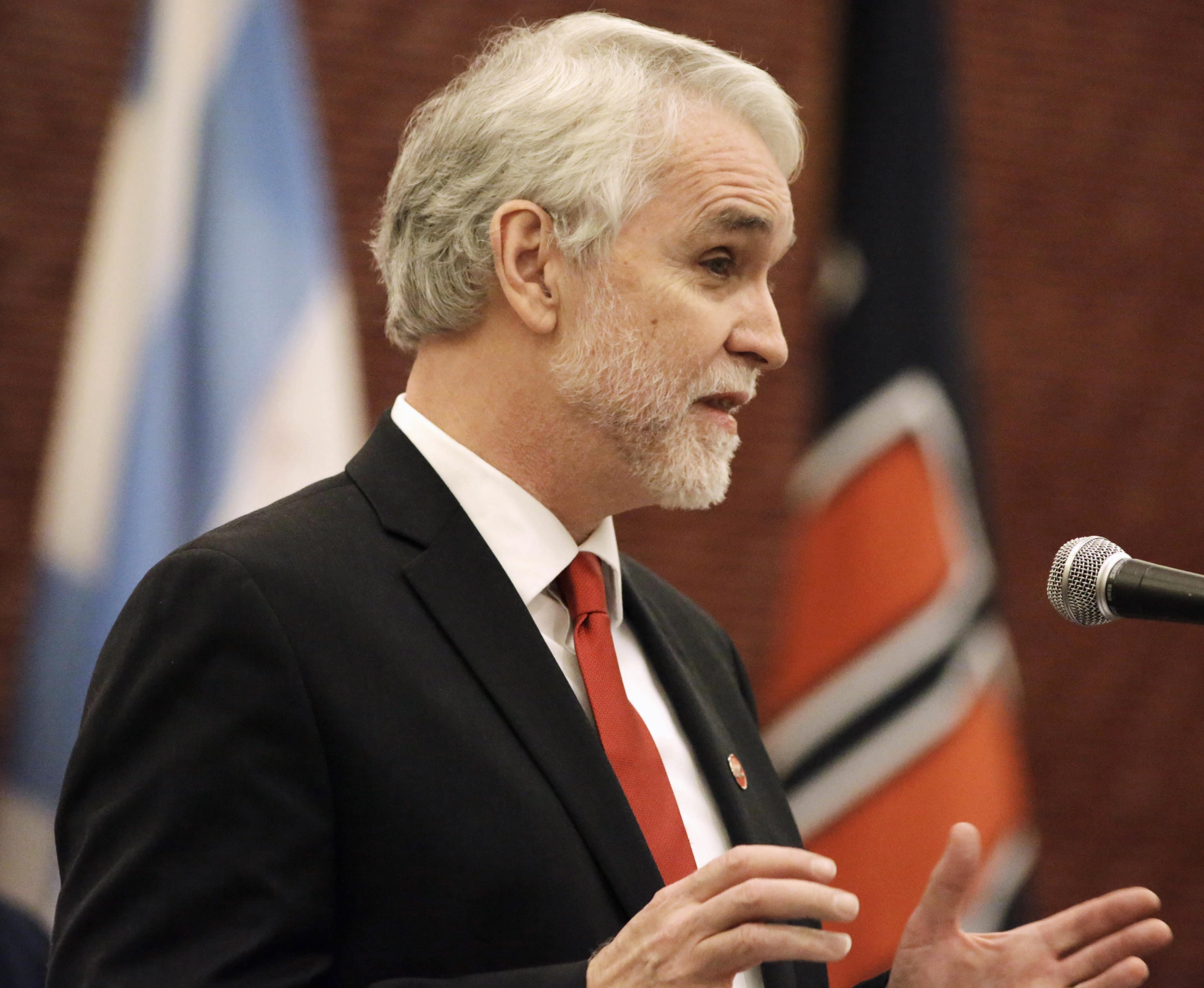 Timothy L. Killeen speaks after being introduced as the next president of the University of Illinois on May 18.