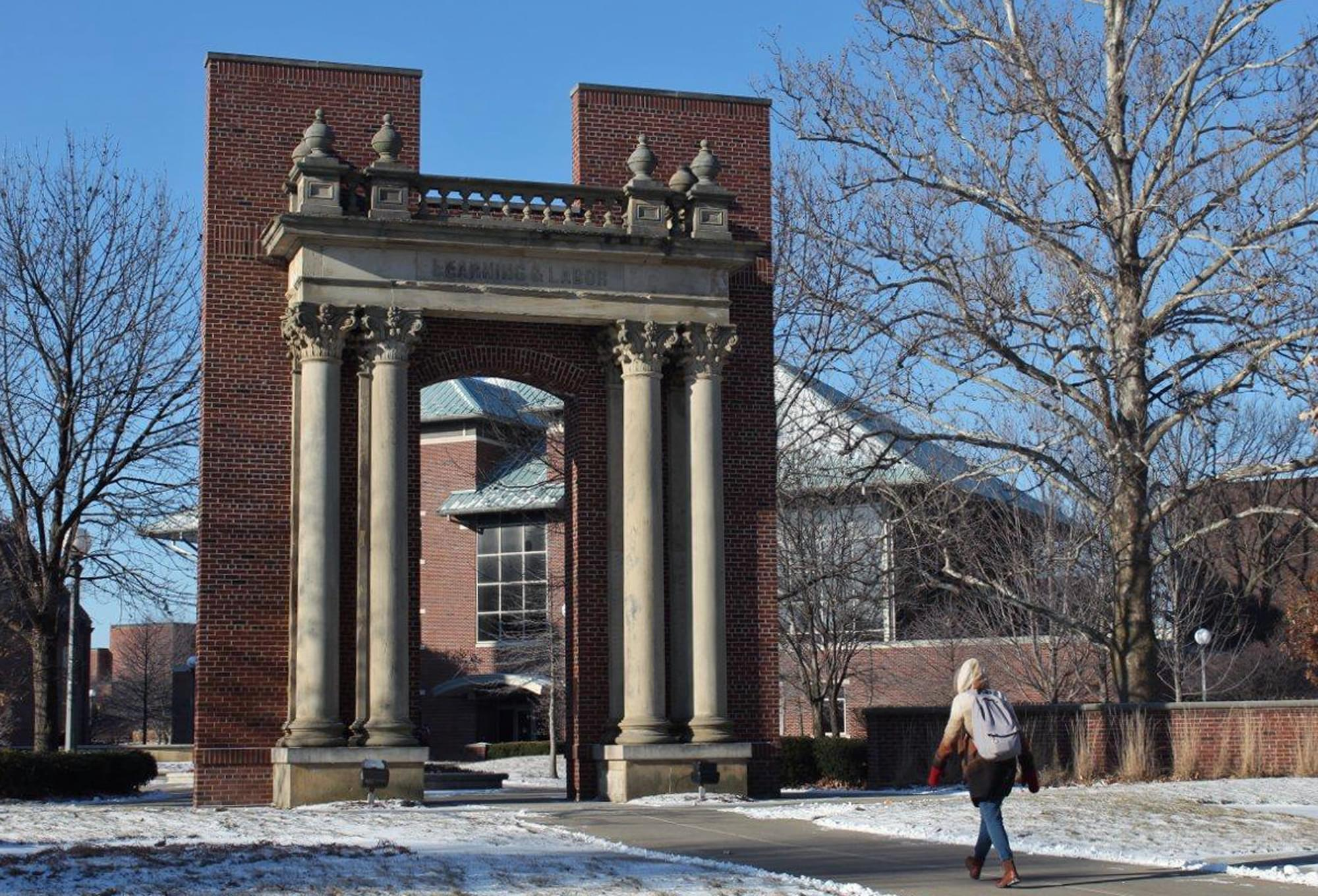 A woman walks on the U of I campus in Urbana in a February 19th photo.