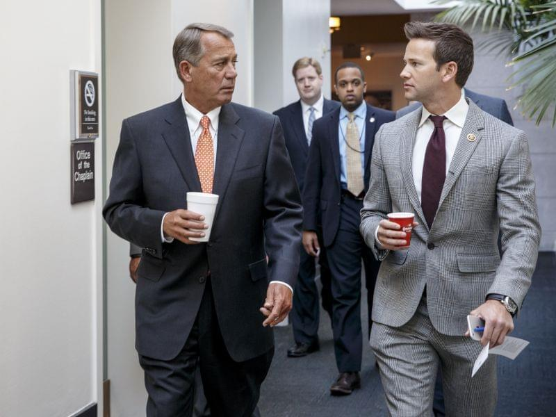 Schock talks with House Speaker John Boehner in a file photo from January 9. 2015.