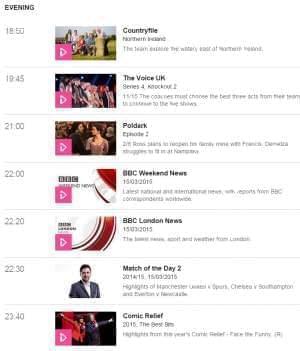 BBC One Sunday night program listings.