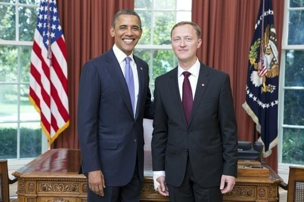 President Barack Obama receives His Excellency Andris Razans Ambassador of the Republic of Latvia, during an Ambassador Credentialing Ceremony in the Oval Office
