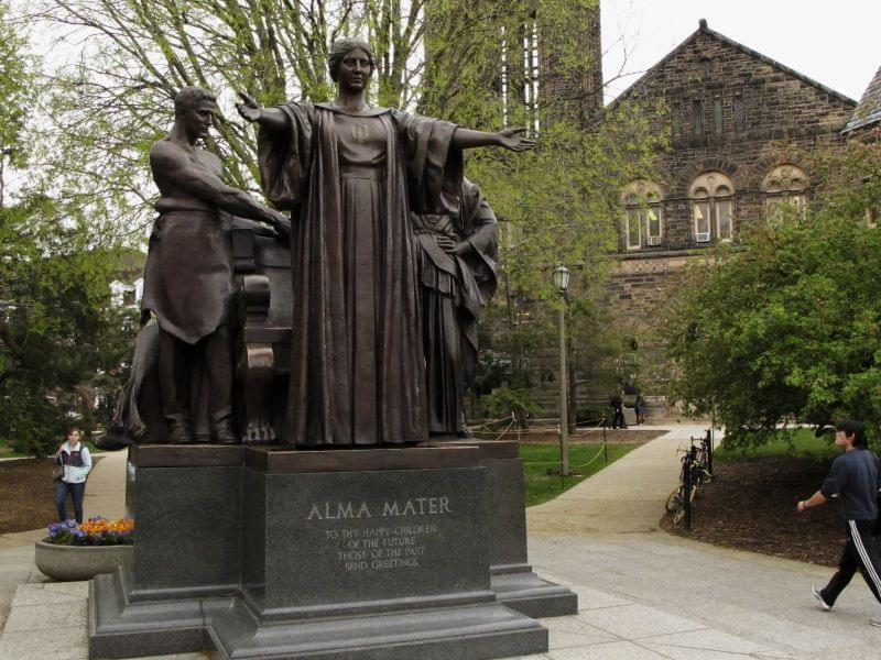 Students walk past the Alma Mater statue on the University of Illinois Urbana campus in April 2014.