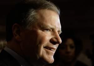 Bloomington Republican Senator Bill Brady talks with reporters last March 18.