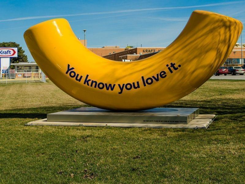 A giant macaroni sculpture outside the Kraft Foods plant in Champaign, IL