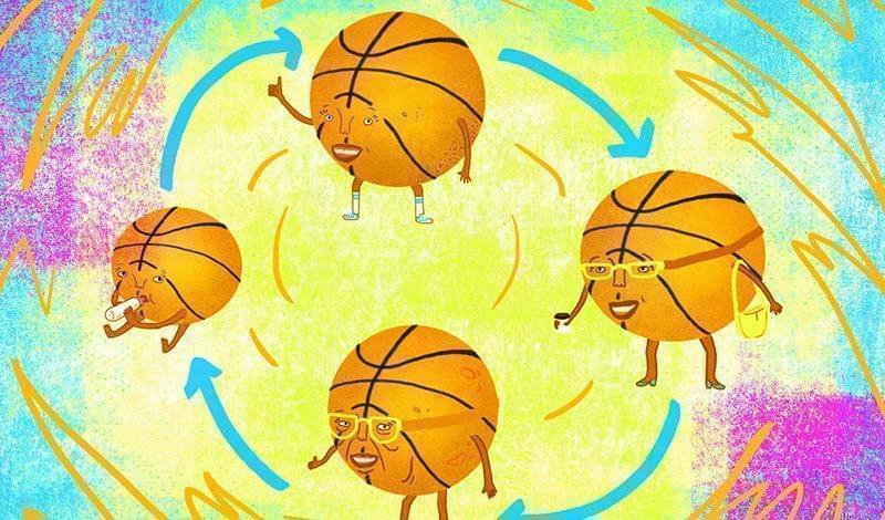 Cartoon basketballs