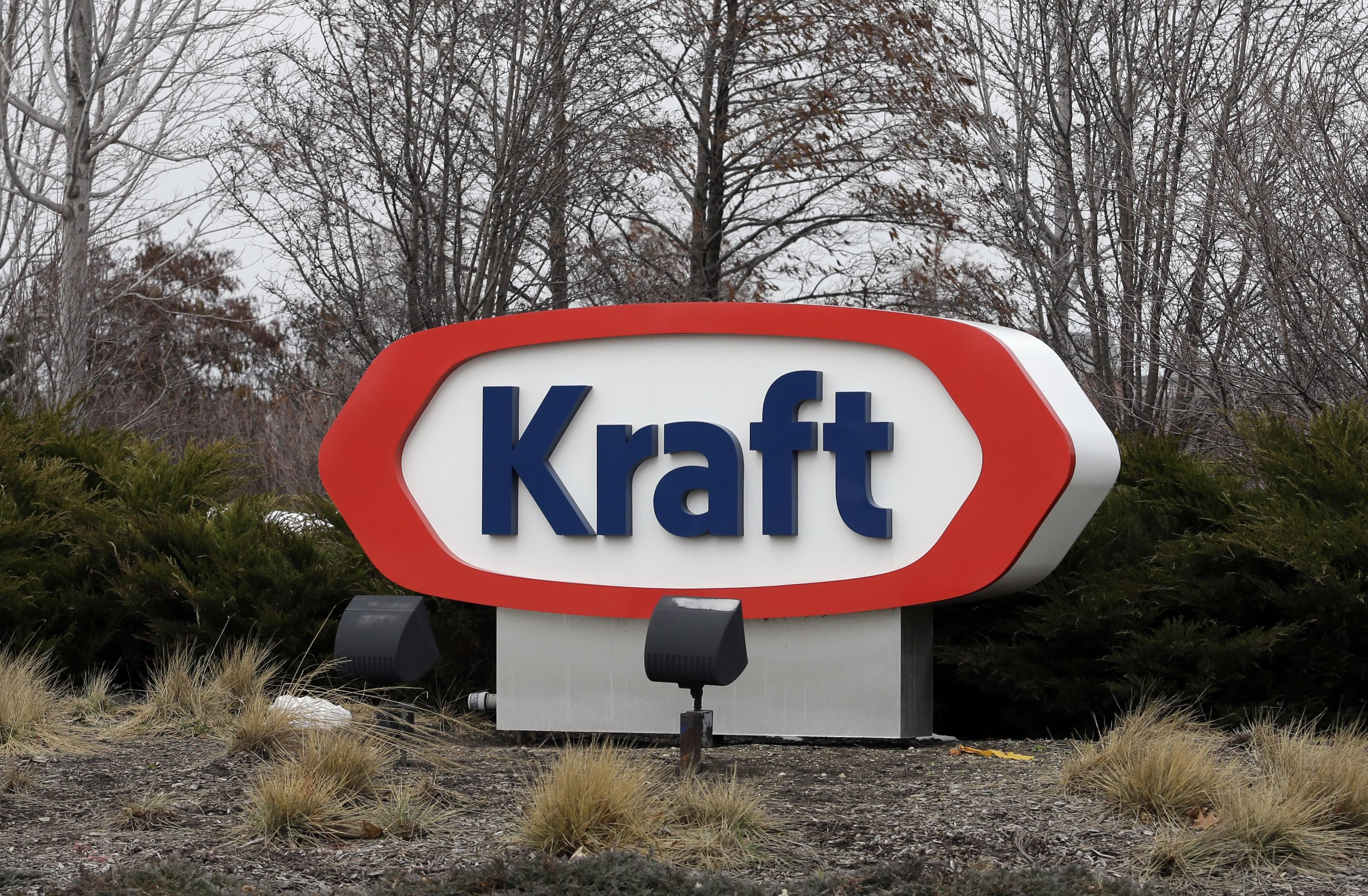 Kraft logo appears outside its headquarters in Northfield, Illinois Wednesday.