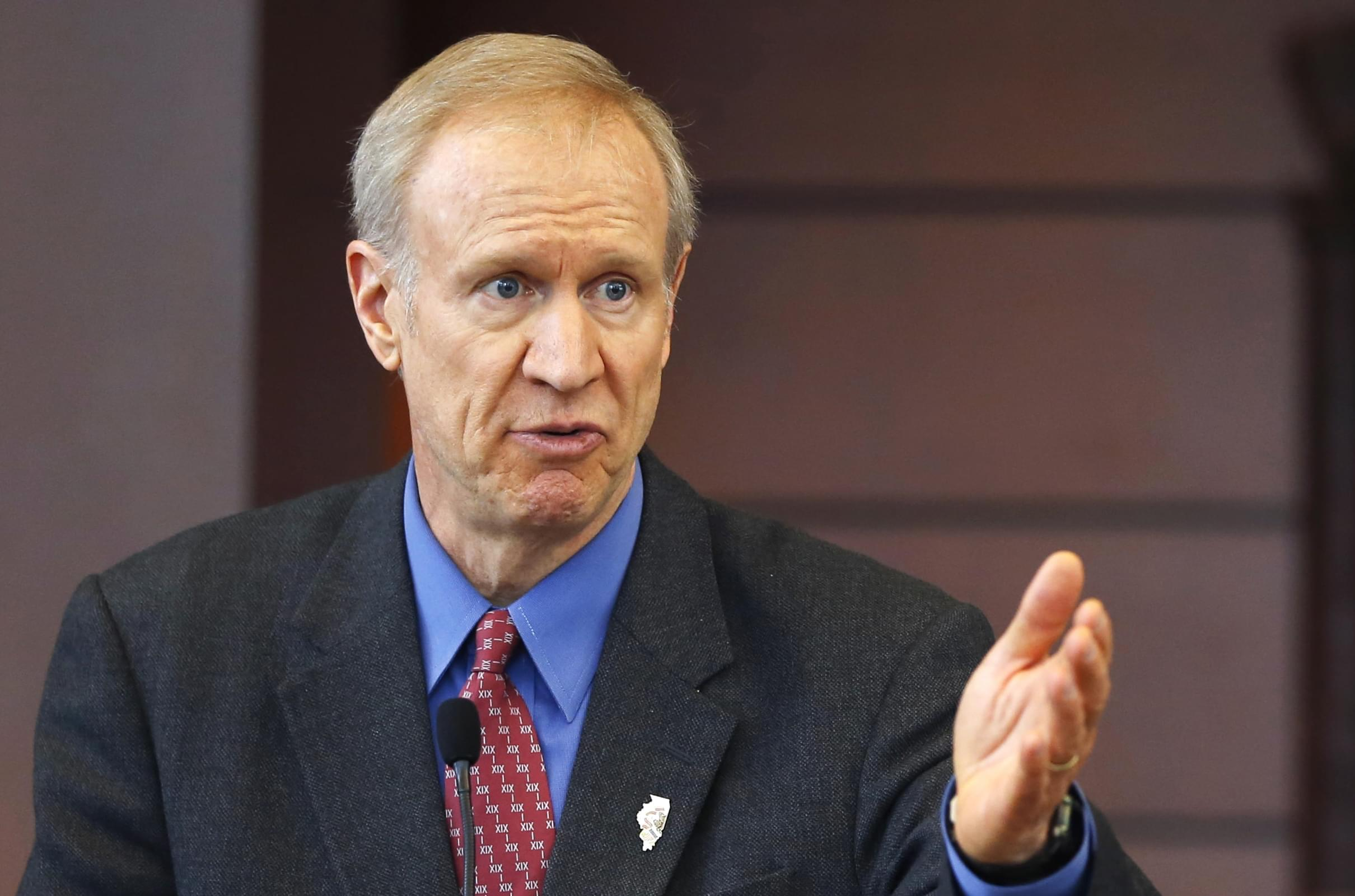 In this March 20, 2015 file photo, Illinois Gov. Bruce Rauner speaks at a news conference in Chicago.