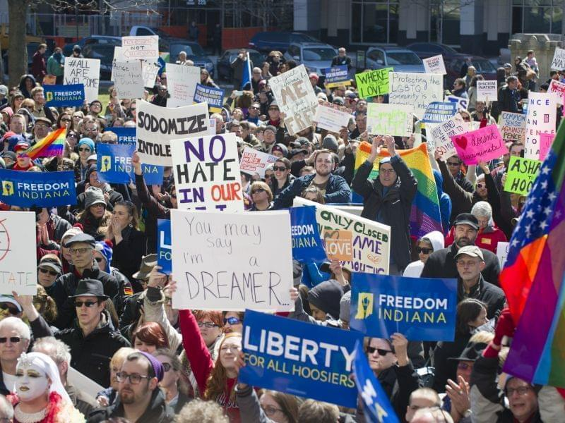 Thousands of opponents of the Religious Freedom Restoration Act, gathered on the lawn of the Indiana State