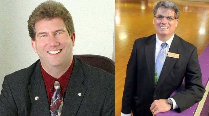 "Danville mayoral candidates incumbent Scott Eisernhauer (Left) and James ""Mouse"" McMahon (Right)."